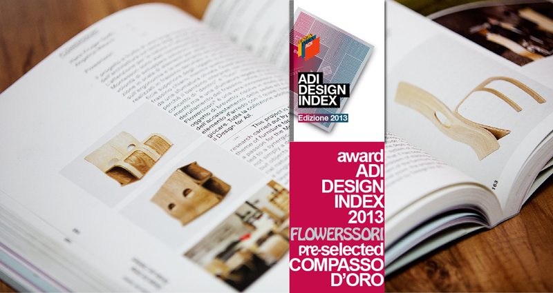 The pages dedicated to the Flowerssori project in ADI Design Index 2013