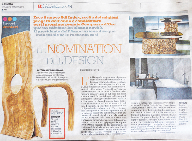 The article of the national newspaper La Repubblica about ADI Design Index 2013: in the foreground the Flowerssori Chair cat. 2